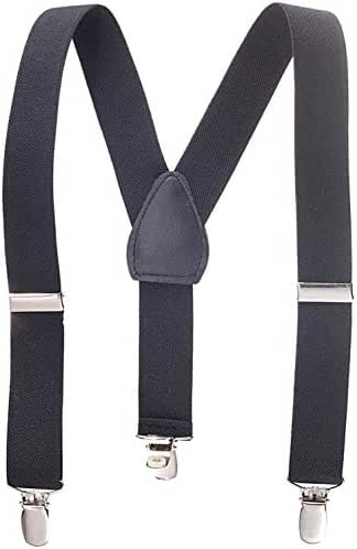 Suspenders for Kids Boys and Baby - Made in the USA - Extra Sturdy Polished Silver Metal Clips, Genuine Leather Crosspatch 1 Inch Suspender Perfect for Tuxedo