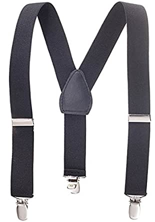 "Solid Color Kids and Baby Elastic Adjustable Suspenders -Black (Size 22"")"
