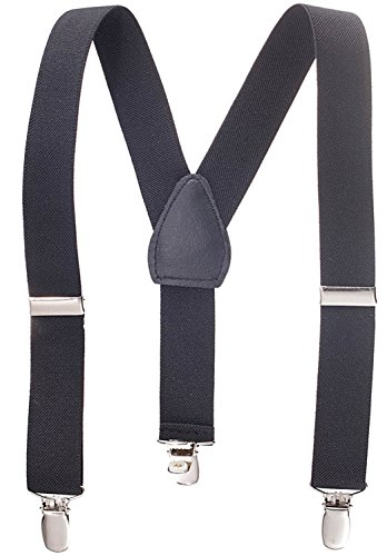 Solid Color Kids and Baby Elastic Adjustable Suspenders -Black (Size -