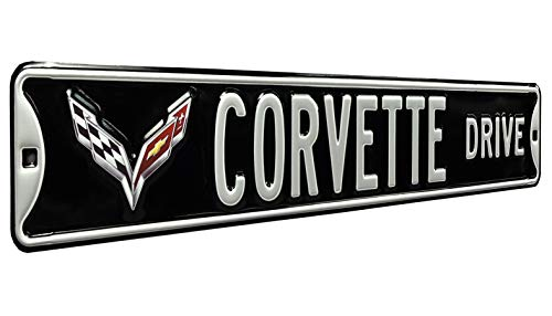 Authentic Street Signs 43025 Corvette Drive C7, Metal Wall Decor- Large, Heavy Duty Steel Street Sign, 6