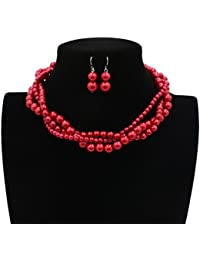 Women Elegant Jewelry Set Imitation Pearls Bead Cluster Collar Choker Necklace and Earrings Suit