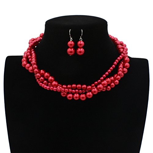 Lanue Women Elegant Jewelry Set Imitation Pearls Bead Cluster Collar Choker Necklace and Earrings Suit (Red) (And Red Set Earring Necklace)