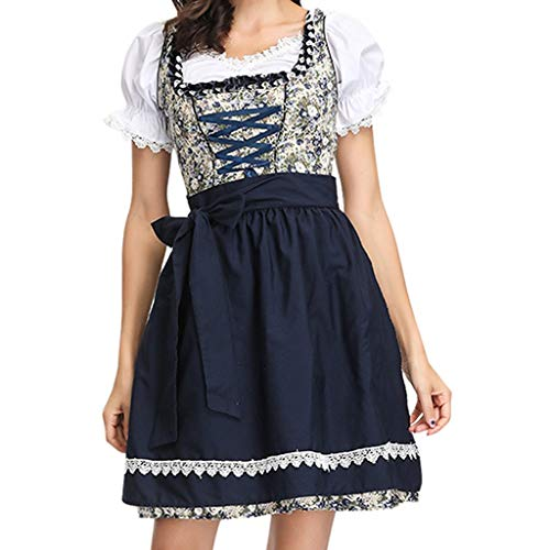 Togethor Womens German Dirndl Dress, 2-Piece Bavarian Oktoberfest Costumes for Halloween Carnival with Apron Black]()