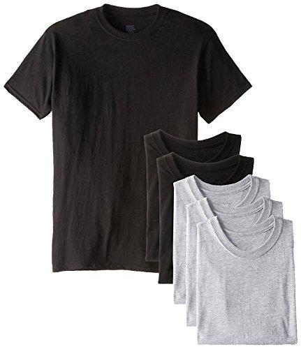 Hanes Men's 6 Pack Crew Neck T-Shirt XX-Large, Grey Black Assort