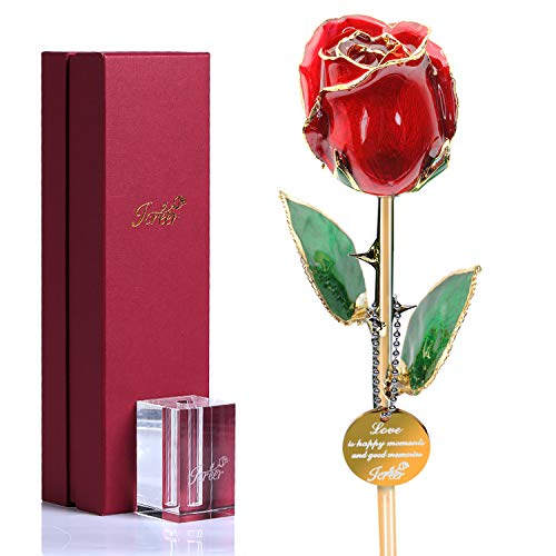 24k Gold Rose Flowers Gifts for Her Wife Girlfriend Mom,Forever Rose for Valentine's Day Anniversary Birthday Mother's Day with K9 Crystal Stand (Red) (For Best Wife Birthday Surprises)