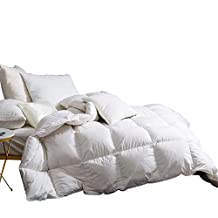 Snowman White Goose Down Comforter Full/Queen Size 100% Egyptian Cotton Shell Down Proof,60 Thread Count-Solid White Hypo-allergenic