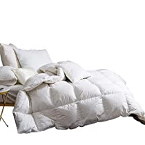 Snowman White Goose Down Comforter CAL King Size 100% Cotton Shell Down Proof-Solid White Hypo-allergenic