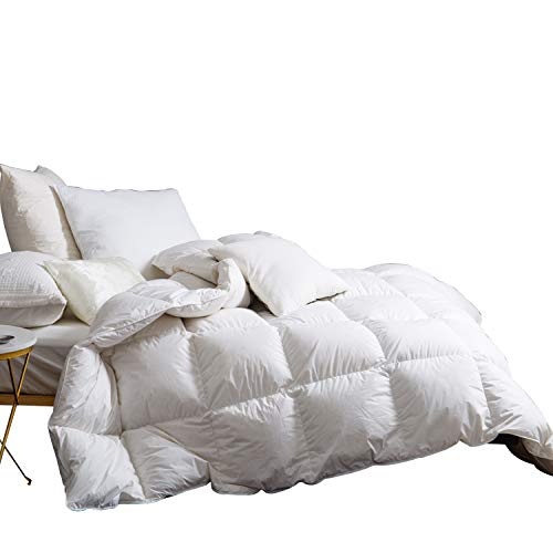 SNOWMAN White Goose Down Comforter CAL King Size 100% Cotton Shell Down Proof-Solid White Hypo-allergenic]()