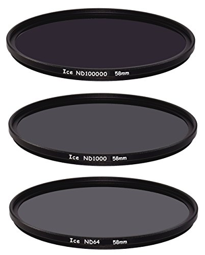 ICE Extreme ND Filter Set 58mm ND100000 ND1000 ND64 Neutral Density 58 16.5,10, 6 Stop Optical Glass