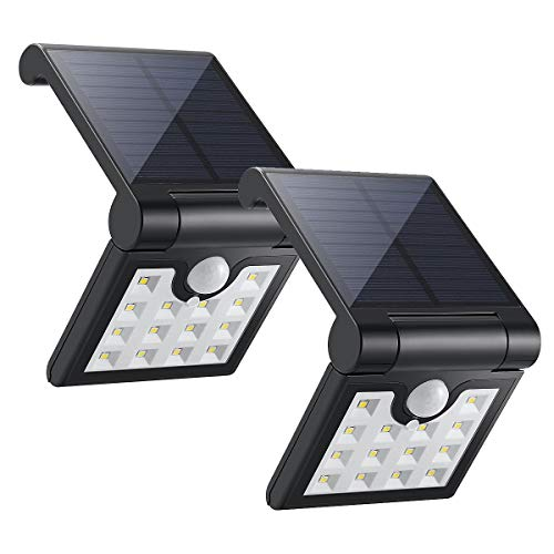 ECEEN Solar Light Outdoor Motion Sensor Foldable Garden 14LEDs IP65 Waterproof Security Wireless Portable Light for Wall Driveway Balcony Camping Yard Garage Porch Patio Path Fence RV, 2 Pack Black