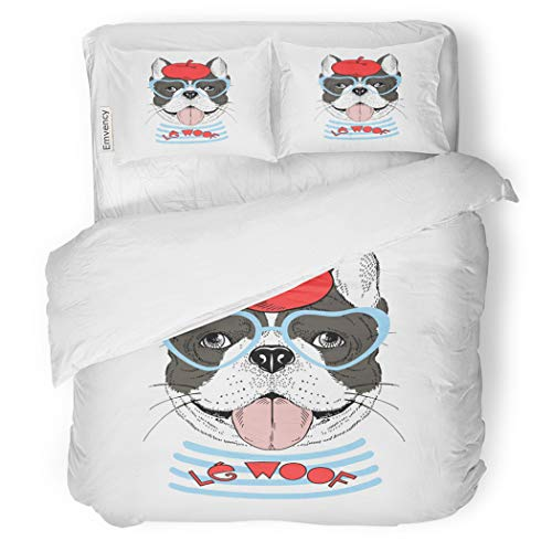 SanChic Duvet Cover Set French Bulldog Dressed Up in Parisian Chic Graphic Decorative Bedding Set with 2 Pillow Cases Full/Queen Size]()