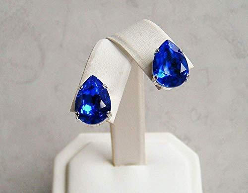 Majestic Blue 14mm Teardrop Ear Stud Post Earrings Made With Swarovski Crystal Gift Idea RP (Post Rhodium Plated Earrings)
