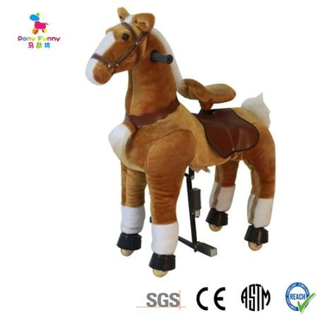 Golden Tan Med Pony Ride On Rocking Cycle Horse Giddy Up Cowboy! Ages 6-10 by TODDLER TOYS