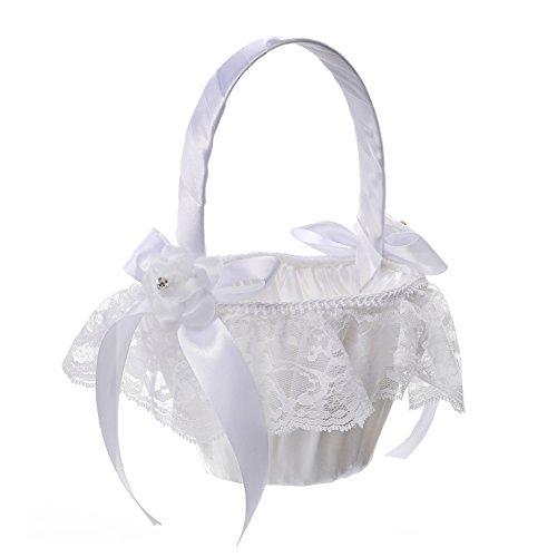 Wedding Flower Girl Basket lace Ribbon jewels Decor Sweet Romantic Basket Ivory for Elegant Wedding Ceremony by Eamall (Basket Wedding)