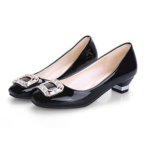 Heels Closed Solid Square PU Pumps on Shoes Low Women's Black Toe Pull WeiPoot 6wIpg