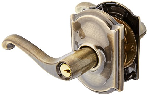 Panic Hardware Schlage (Schlage Lock Company F51AFLA609CAM Antique Brass Flair Keyed Entry F51A Panic Proof Door Lever with Camelot Rosette)