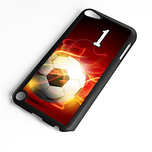 (iPod Touch Case Fits 6th Generation or 5th Generation Soccer Ball #0400 Choose Any Player Jersey Number 1 in Black Plastic Customizable by TYD Designs)