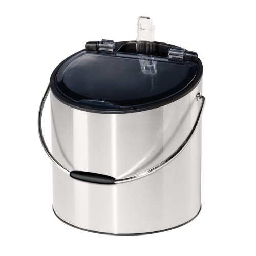 Oggi 7440 Stainless Steel Ice and Wine Bucket with Flip Top Lid and Ice Scoop, Holds 2 Bottles