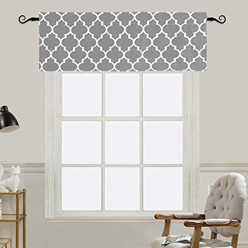 Jaoul Moroccan Darkening Valance for Kitchen Living Room Bedroom, Window Treatment Short Drapes Tile Print Half Curtains Top Drapes, Gray, W52 x L18