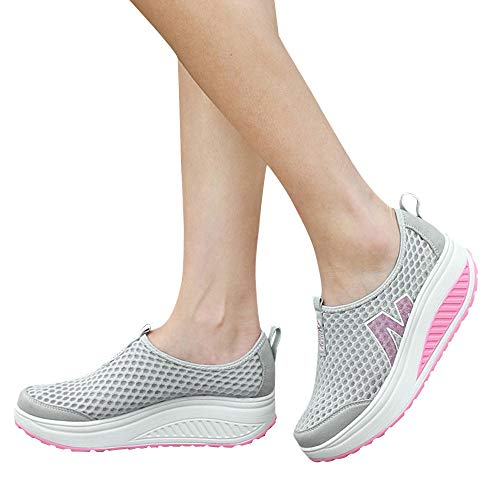 (Lloopyting Women's Rocking Shoes Women's Breathable Mesh Slope with Thick Bottom Increased Swing Wedge Shoes Gray)