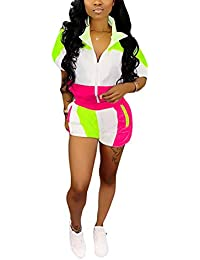 9fb235cd40a Womens Casual Two Piece Outfits Zip Up Patchwork Half Sleeve Jacket Top  Shorts Pants Sets