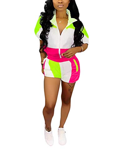Half Sleeve Jacket - Womens Casual Two Piece Outfits Zip Up Patchwork Half Sleeve Jacket Top Shorts Pants Sets Pink + Green Size XXXL