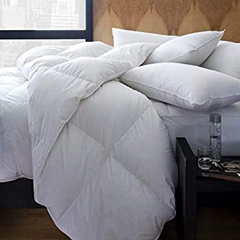 Image of 1221 Bedding Cotton Sateen European White Goose Down Comforter King Home and Kitchen