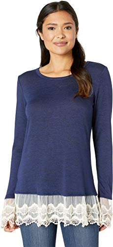 Wrangler Women's Lace Trim Long Sleeve Knit Navy/Natural Small
