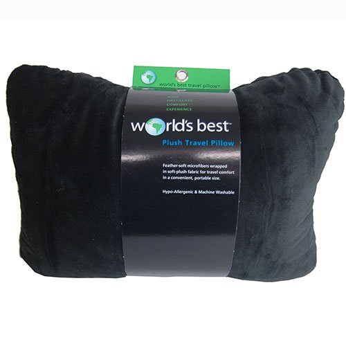 World's Best Feather Soft Microfiber Retangular Travel  Pillow, Black (World's Best Travel Pillow)
