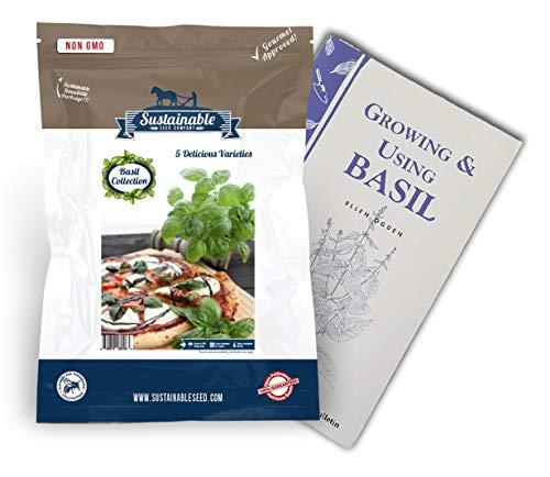 (Basil Seed Collection, 5 Variety, 100% Non-GMO Heirloom Genovese Basil, Thai Basil, Lemon Basil, Italian Basil and Dark Opal Basil Herb Seeds (Collection Only))