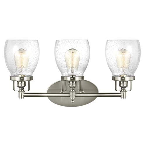 Sea Gull Lighting 4414503-962 Belton – Three Light Bath Vanity, Brushed Nickel Finish with Clear Seeded Glass