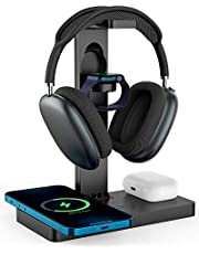 $36 » Headphone Stand Headset Holder with Wireless Charger, 2 Type USB C Port, 4 in 1 Fast Wireless Charging Station Dock for Apple Watch, AirPods Pro/2, iPhone 12/11 Series and All Headphones Size (Black)