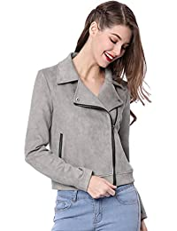 Women's Short Soft Zip up Faux Suede Biker Moto Jacket