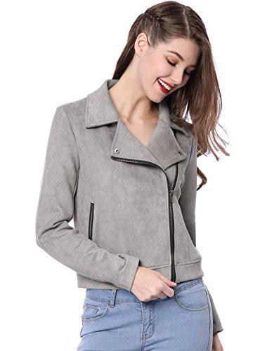 - Allegra K Women's Convertible Collar Zip up Faux Suede Moto Jacket XS Grey