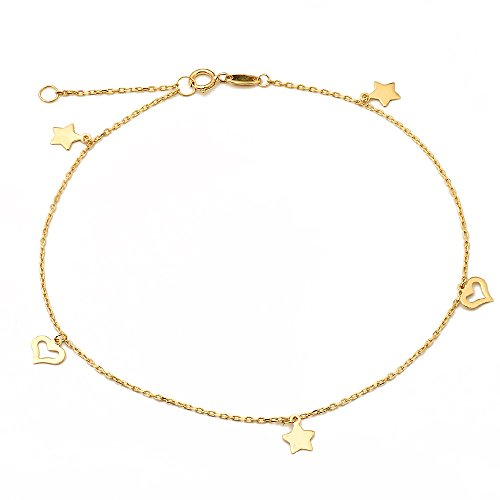 (LOVEBLING 10K Yellow Gold .50mm Diamond Cut Rolo Chain with Star and Heart Pendants Anklet Adjustable 9
