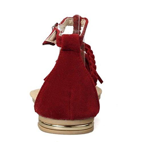 CoolCept Women Solid Tassel Buckle T-Srap Flats Sandals Shoes Red w5vRSOf1c