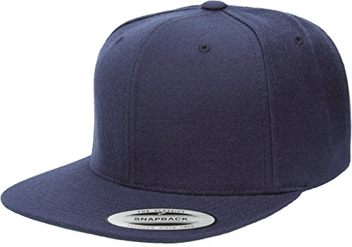 Yupoong 6089M Classic Snapback Pro-Style Wool Cap by Flexfit - One Size (Navy) - Snapback Wool