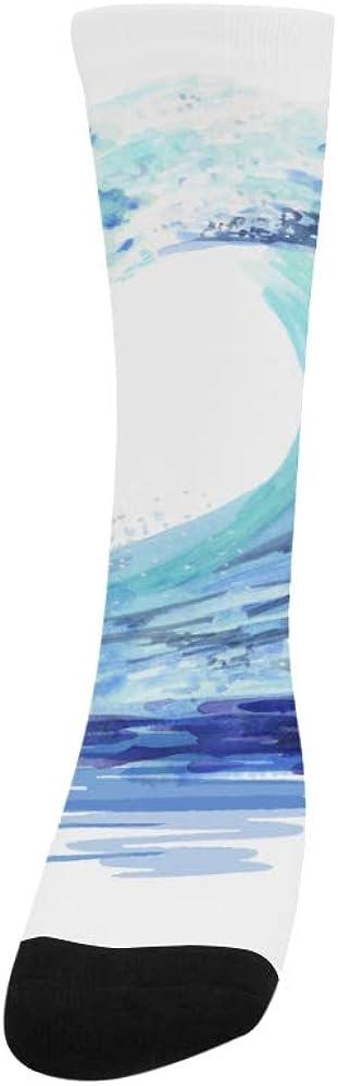 Blue Sea Weave Painting Art Crazy Soccer Knee Dress Trouser Sock Women Botts
