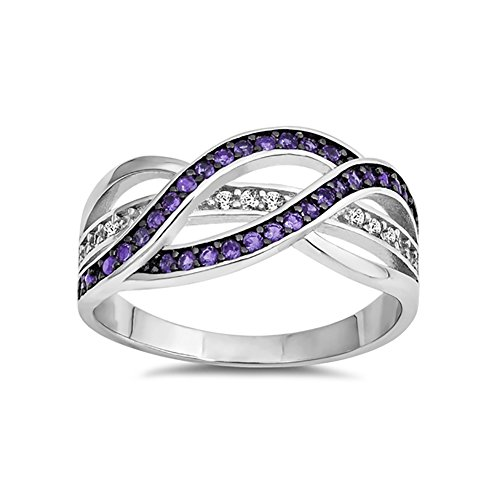 Half Eternity Weave Knot Ring Crisscross Crossover Simulated Purple Amethyst Round CZ 925 Sterling Silver, Size-6