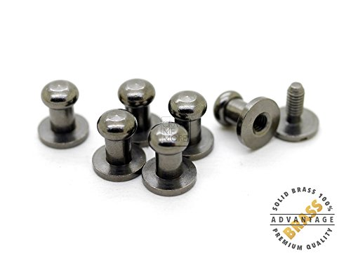CRAFTMEmore Solid Brass Ball Head Stud Screw Back Nipple Rivet Studs Button Strap Stopper Leathercraft Gunmetal Black Finish 10 Pack (5 mm) - Black Leather Finish