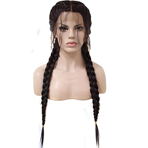 Anogol Hair Cap+Long Double Braids 2# Natural Black Synthetic Braided Lace Front Wig with Baby Hair Wigs Heat Resistant Fiber Middle Part]()