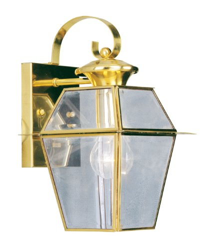 Livex Lighting 2181-02 Outdoor Wall Lantern with Clear Beveled Glass Shades, Polished Brass