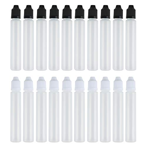 Z-COLOR 20pcs 30ml Black and White Long Dropper Bottle with Childproof Cap with Long Thin Tip Plastic LDPE