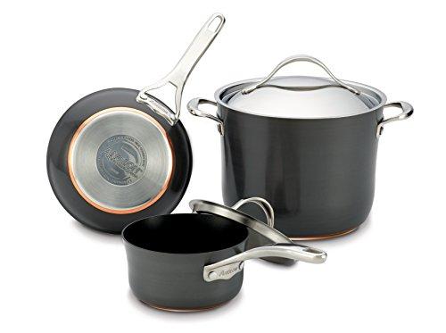 """Anolon Nouvelle Copper Hard Anodized Nonstick Cookware (8-Qt Pot, 2-Qt Sauce, 8"""" Skillet)"""