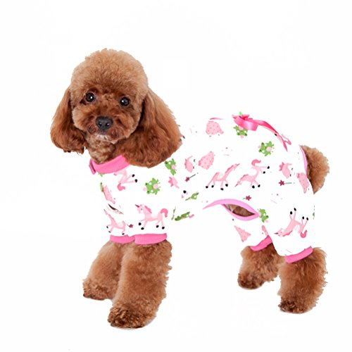 [Uniquorn Pet Clothes Cute Dog Clothes New Home Service Dog Pajamas Four Feet Cotton Printing Teddy] (Mini Dachshund Halloween Costumes)