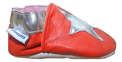 zapatos de bebé de Cuero suave, color rojo con estrellas de plata Talla:18-24 meses