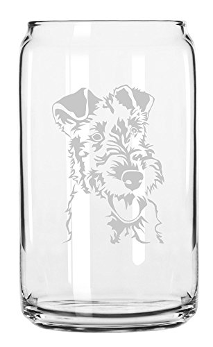 Wire Fox Terrier Dog Themed Etched All Purpose 16oz Libbey Can -