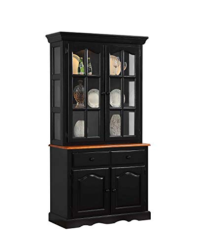 Sunset Trading DLU-19-BUFHUT-BCH Keepsake Buffet and Lighted Hutch, Black/Cherry Finish Cabinet Oak Veneer Buffet China