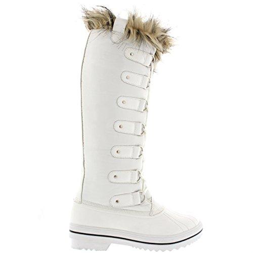 Mujer Manguito De Piel Cordones Caucho Altura De La Rodilla Zapato Bota Blanco Nylon