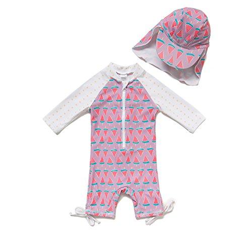 80d3cb31c2ba0 Bonverano ラッシュガード 水着 女の子 長袖 UPF50+ UVカット フード付き 0-3歳 ワンピース